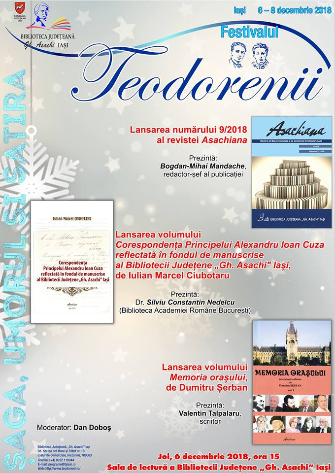 """Lansarea numărului 9/2018 al revistei Asachiana, editată de Biblioteca Județeană """"Gh. Asachi"""" Iași."""